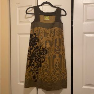 Anthro floreat silk bow dress with embroidery